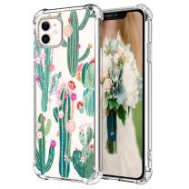 """Hepix iPhone 11 Case Cactus Clear 11 iPhone Cases with Cacti Flowers Pattern for Women Girls, Slim Protective TPU Frame with Four Bumpers Raised Lips Anti-Scratch Shockroof for iPhone 11 (6.1"""") 2019"""