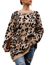 Rainlin Women's Casual Leopard Print Pullover Sweater Long Sleeve Crewneck Tunic Top Knitted Oversized Maternity Sweater