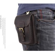 Mans Leather Fanny Pack Hip Holster Bag Waist Pack for Man Multifunction Travel Bag Mini Cell Phone Belt Bag for Men for iPhone 6/7/8/X /11 Pro