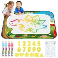 D-FantiX Water Doodle Mat, Large Water Drawing Mat Kids Magic Doodle Board Painting Writing Dinosaur Doodles Pad with 4 Magic Pen Educational Toy Gift for Toddlers Boys Girls Rainbow Colors