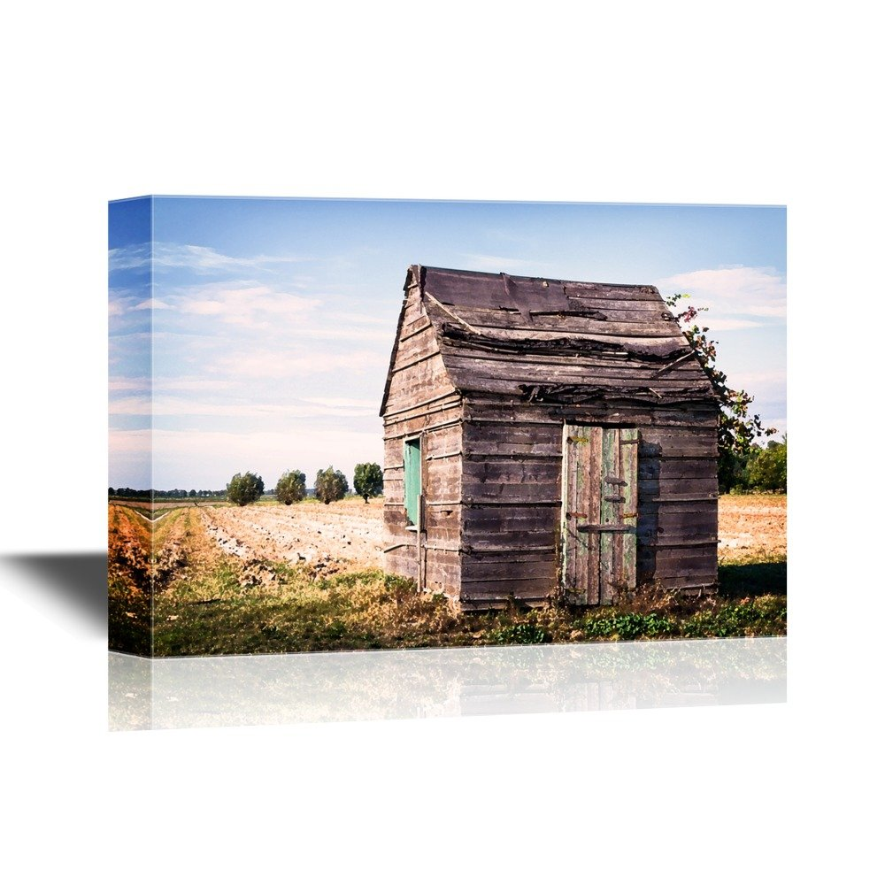 wall26 - Watercolor Style Canvas Wall Art - Old Hut at a Field - Gallery Wrap Modern Home Decor   Ready to Hang - 32x48 inches
