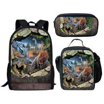 Middle School Student Backpack Lunch Bag Set Pen Bags For Boys Fashion Durable Daypack Dinosaur Print