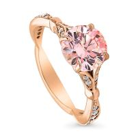 BERRICLE Rose Gold Plated Sterling Silver Solitaire Promise Engagement Ring Made with Swarovski Zirconia Morganite Color Round 2.28 CTW