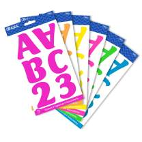 """BAZIC 2"""" Neon Alphabet Numbers Stickers 6 Colors, A-Z 0-9 Self-Adhesive Large Cute Laptop Cardstock Sticker Easy Peel, Kids Teacher Learning, 6-Pack"""