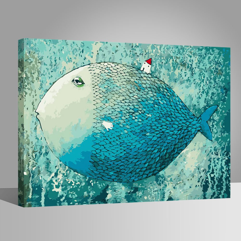 LIUDAO Paint by Number Kit for Adults, Suitable for All Skill Levels 16x20 Inch - Fish Wooden Frame