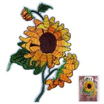 MUNAN Sun Flower Patches Iron on Applique Embroidered Patches for Backpacks Clothing