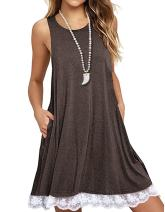 Sanifer Women Summer Tunic Dress Lace Tank Dress Sleeveless T-Shirt Dress with Pockets