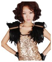 ZAKIA Natural Feather Shawl Shrug Halloween Party Scarf Cosplay Top