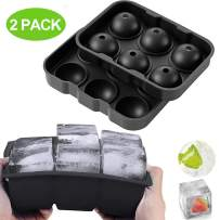 Ice Cube Trays Silicone Sphere Ice Ball Maker with Lids & Large Square Ice Cube Molds for Whiskey and Cocktails,Big Ice Cube Tray with Funnel & Ice Tongs,Set of 2,Black