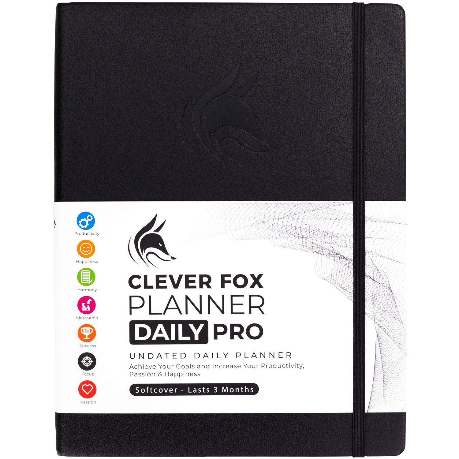 """Clever Fox Planner Daily PRO - 8.5 x 11"""" A4 Size Daily Life Planner and Gratitude Journal to Increase Productivity, Time Management and Hit Your Goals - Undated - Lasts 3 Months (Black)"""