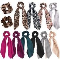 Jaciya 12 Pack Leopard Scrunchies Chiffon Hair Scrunchies Hair Bow Chiffon Ponytail Holder Bobbles Soft Elegant Scrunchies with Ribbon Hair Ties, 12 Colors