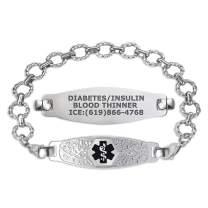 Divoti Custom Engraved Medical Alert Bracelets for Women, Stainless Steel Medical Bracelet, Medical ID Bracelet w/Free Engraving – Beautiful Olive Tag w/Fancy Link – Color/Size