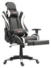 Morfan Gaming Chair Massage and Rocking Function Racing Style Ergonomic Executive Tilt E-Sports Chair with Movable Headrest and Lumbar Pillows with Footrest (Black/White)
