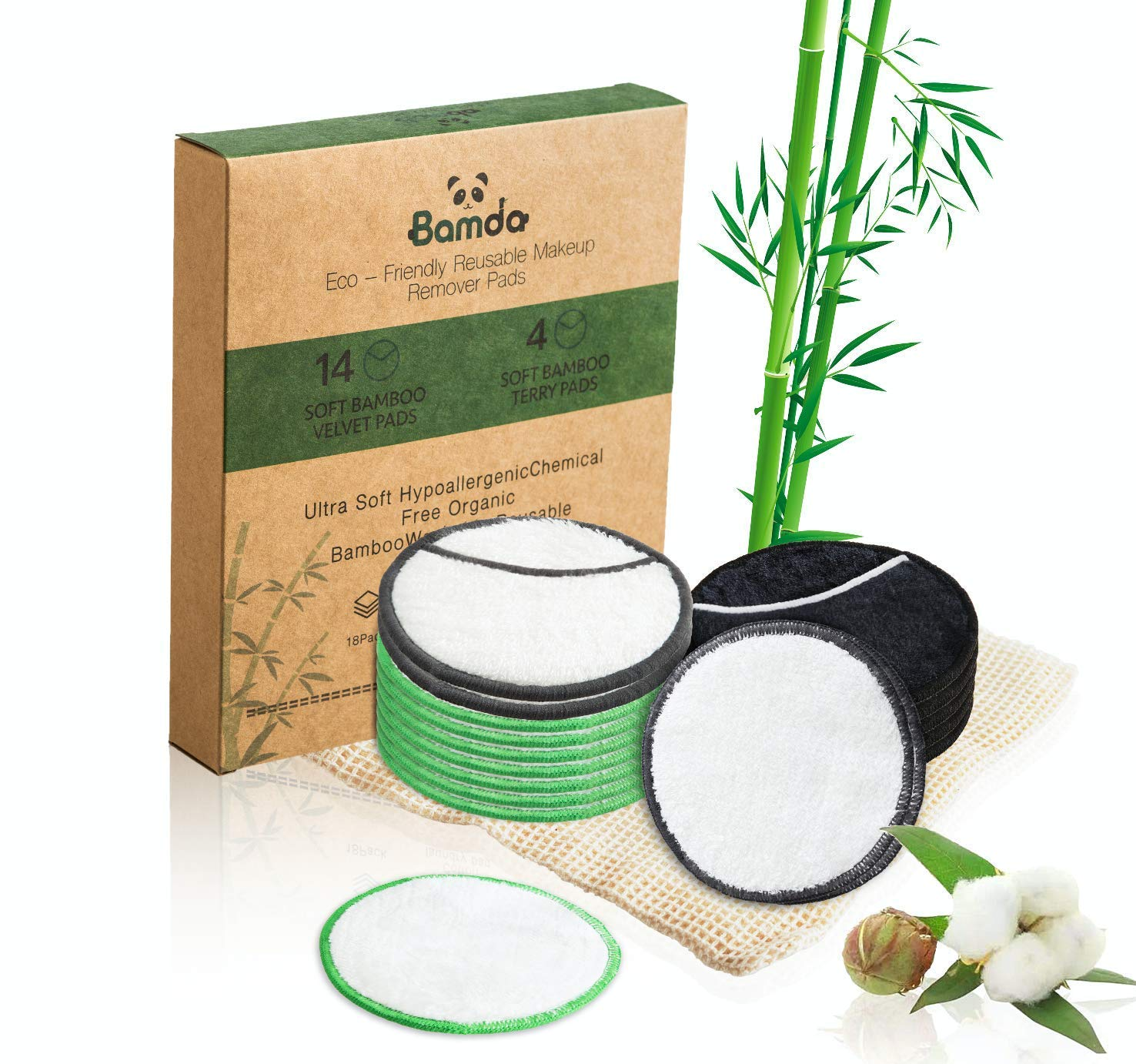 Reusable Makeup Remover Pads - 18 Pcs Organic Bamboo Cotton Rounds with Lanudry bag, 3 Colours & 2 Types | Bamda Zero Waste Make Up Removal Pads for All Skin Types