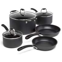 Ecolution Symphony Multipurpose Forged and Stainless Steel Pots and Pans Set, Reinforced Ergonomic Cool-Touch Handles, Dishwasher Safe, Nonstick, Black, 8 Piece, Slate