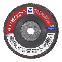 "Mercer Industries 340H120 Aluminum Oxide Flap Disc, Type 29, 4-1/2"" x 5/8""-11, Grit 120, 10 Pack"