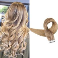 Full Shine Seamless Pu Tape In Extensions 16 Inch Balayage Human Hair Color 10 Golden Brown Fading To 16 Light Golden Blonde Highlight 16 Double Sided Tape Ins 20Pcs 50 Grams
