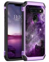 BENTOBEN LG G8 ThinQ Case, LG G8 Case, Shockproof 2 in 1 Faux Leather Hard PC Soft TPU Bumper Non-Slip Shockproof Protective Phone Cases Cover for LG G8 Thin Q/LG G8 2019 Release, Purple Nebula