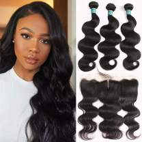 """Ali Grace Body Wave Human Hair with Frontal Human Hair Extensions with 13x4 Ear to Ear Lace Frontal Closure Uprocessed Remy hair Natural Black Color For Black Women (14""""16""""18""""+Frontal12"""")"""