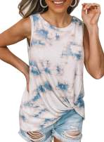 EVALESS Women Scoop Neck Tie Dye Tank Tops Casual Summer Sleeveless Twisted Shirts Pullover Blouses