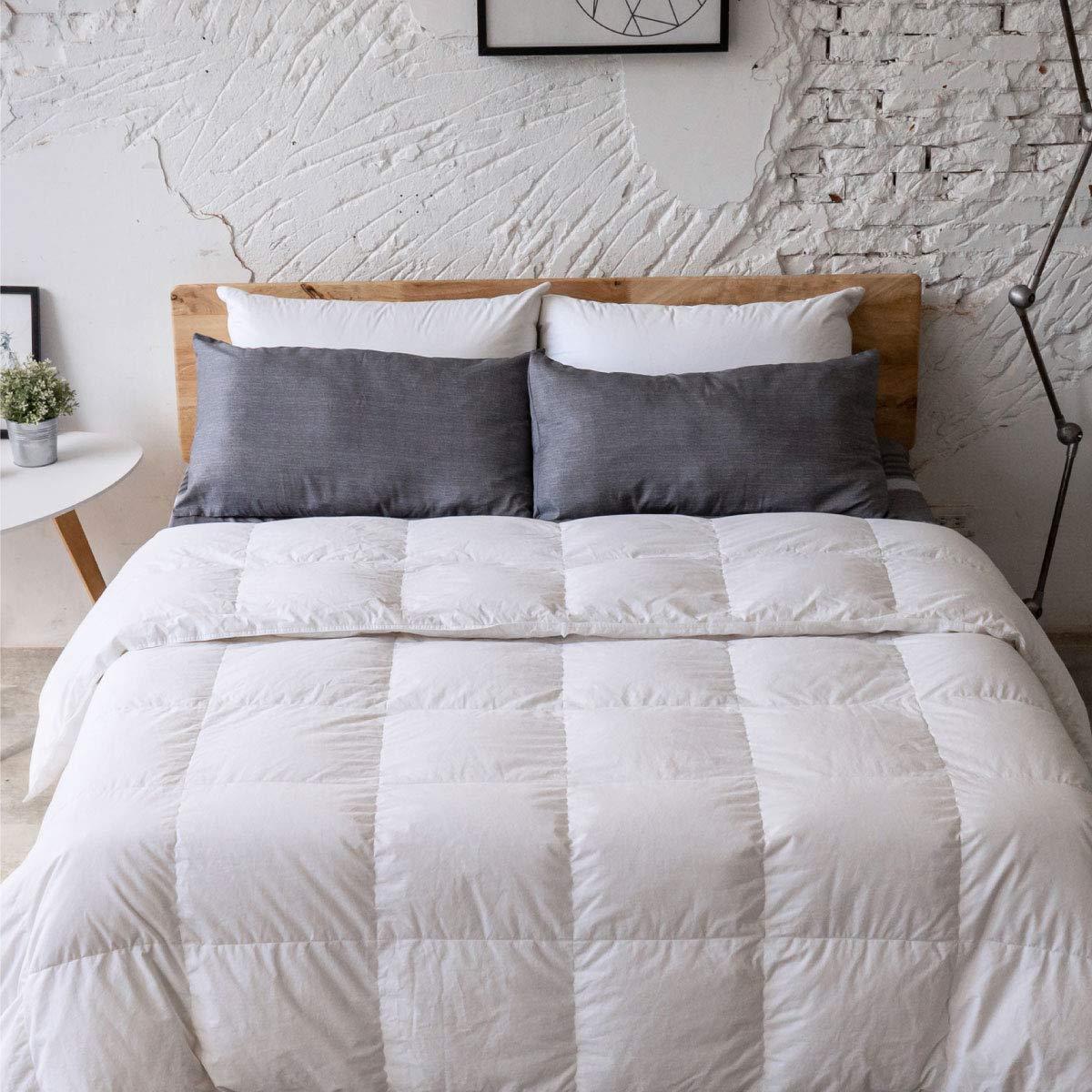 Antar Home Lightweight All Season Down Comforter, Duvet Insert King, 100% Cotton Shell, Real Filling White Down, Hypoallergenic (White)