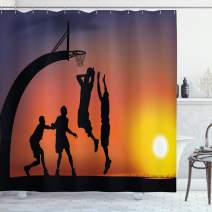 "Ambesonne Teen Room Shower Curtain, Boys Playing Basketball at Sunset Horizon Sky with Dramatic Scenery, Cloth Fabric Bathroom Decor Set with Hooks, 75"" Long, Dark Coral"