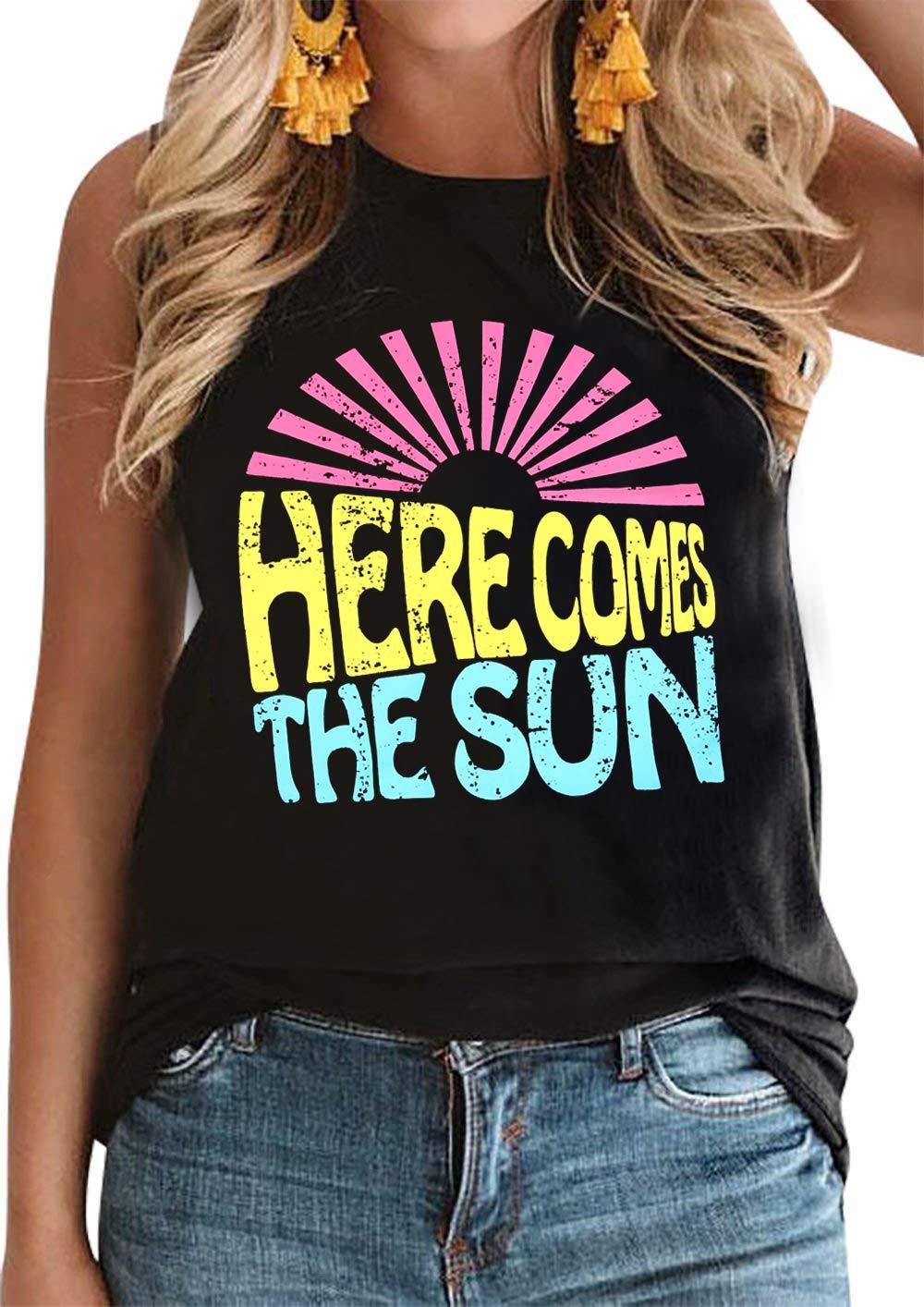 DUTUT Here Comes The Sun Tank Top Women Funny Sun Graphic Tops Beach Vacation Sleeveless Shirt Summer Beach Casual Tanks