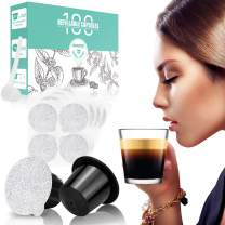 CAPMESSO Reusable Espresso Capsules -Refillable Capsule Coffee Pods Filters Reusable 200 Times Compatible with Nespresso Original Line Machines (Black, 100 Pods+100 Lids+Scoop1)