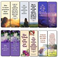 Bible Verses About Virtuous Woman (60 Pack) - Perfect Giveaways for Sunday School and Ministries Designed to Inspire Women