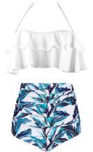 AMOURRI Women's Retro Boho Flounce Falbala High Waist Swimsuit Chic Bikini Set Vintage Bathing Suits
