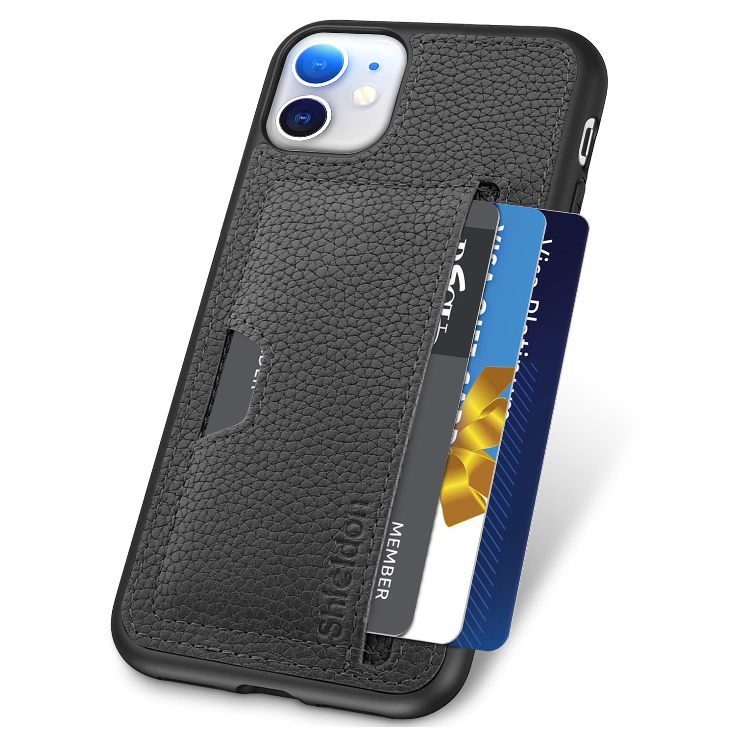 SHIELDON iPhone 11 Case, Genuine Leather + TPU Shock Absorption iPhone 11 Wallet Case Support Wireless Charging with Card Holder Compatible with iPhone 11 (6.1-inch, 2019 Release) - Black