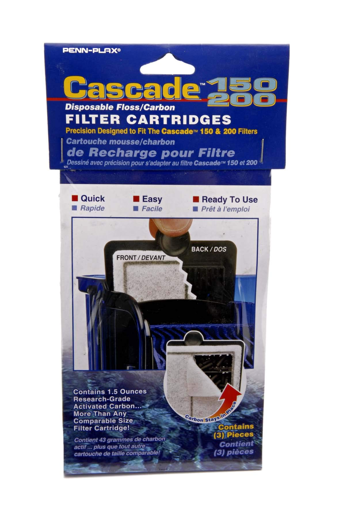 Penn Plax Cascade Hang-on Power Filter Replacement Cartridges - Pack of 1 (3 count) - CPF34C3