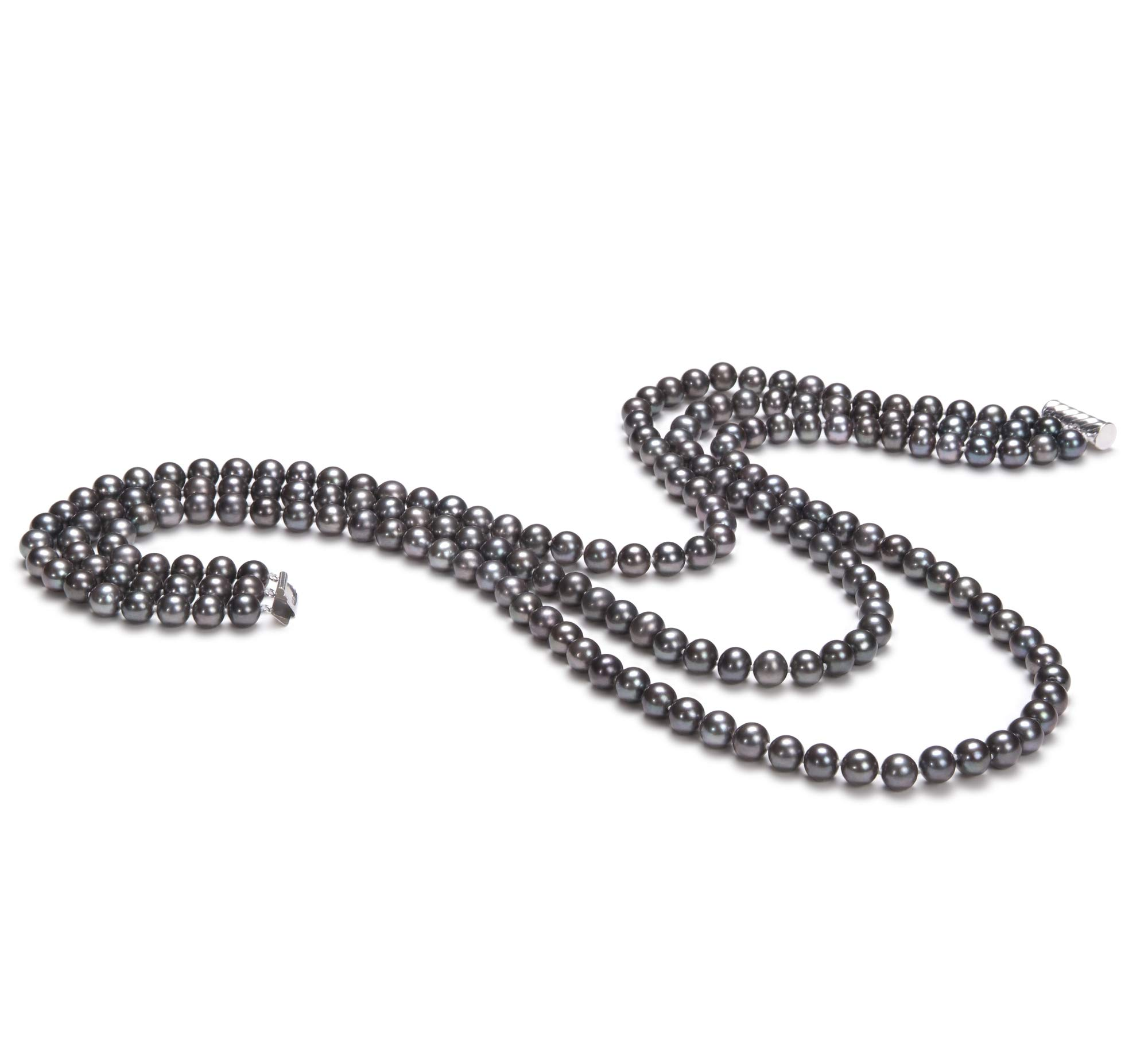 Aline Black 6-7mm Tripple Strand AA Quality Freshwater Cultured Pearl Necklace for Women
