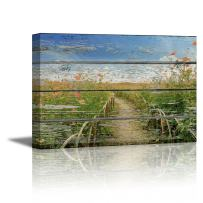 """wall26 - Canvas Prints Wall Art - Peaceful Country Landscape with Wild Flowers on Vintage Wood Background Rustic Home Decoration - 12"""" x 18"""""""