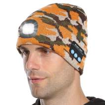 Tutuko LED Beanie Music Hat, Built-in Stereo Speakers & Mic, USB Rechargeable LED Lighted Knit Cap, Unisex Christmas Gifts for Men, Women, Teens, Warm Hat (Camo Orange)