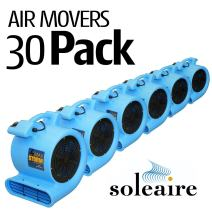 Soleaire Max Storm 1/2 HP Air Mover for House and Janitorial Drying Carpet and Floor, Pack of 30, Blue