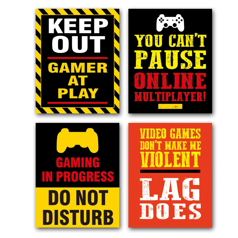 """HPNIUB Video Game Poster Set of 4 (8""""X10""""Canvas Game Artwork with Gamepad Pattern Typography Print Gamer Wall Art for Boys Teens Bedroom, No Frame"""