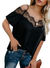 Lovezesent Womens Short Sleeve Strappy Lace Trim Shirts Casual Loose Blouses Top