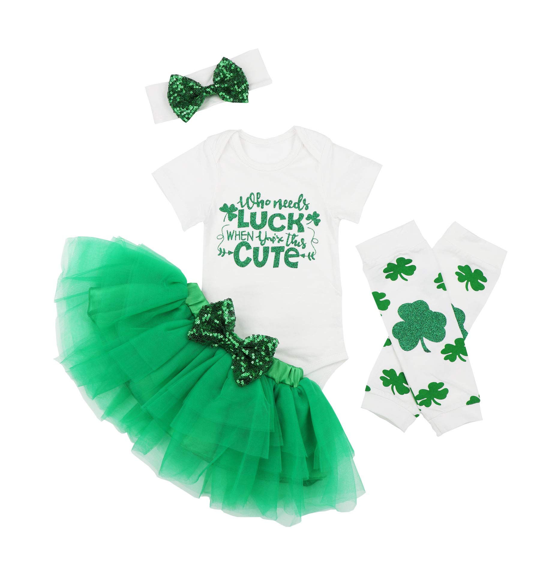 Baby Girls ST Patricks Day Dads Lucky Cute Outfit Set