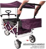 Creative Outdoor Push Pull Collapsible Folding Wagon Stroller Cart for Kids | Foldable Canopy w/Sun & Rain Shade | Beach Park Camping Tailgate & Garden | Purple/Magenta