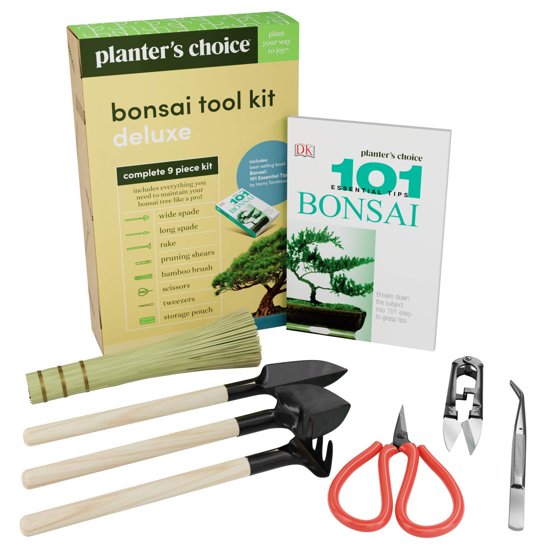 Premium Bonsai Tool Kit + Bonsai 101 Book - Set Includes: Wooden Rake, Long & Wide Spades, Scissors, Tweezers, Bamboo Brush, & Pruning Shears (Trimmer/Clipper) in Fabric Storage Holder - Bonsai Tools