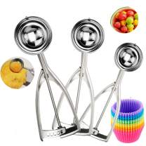 Cookie Scoop Set, Ice Cream Scoop Set, 3 PCS Ice Cream Scoops Quick Release Large Medium Small Size Cookie Scoops, Polishing Stainless Steel 18/8 Melon Scooper Muffin Scooper, Bonus Muffin Cups