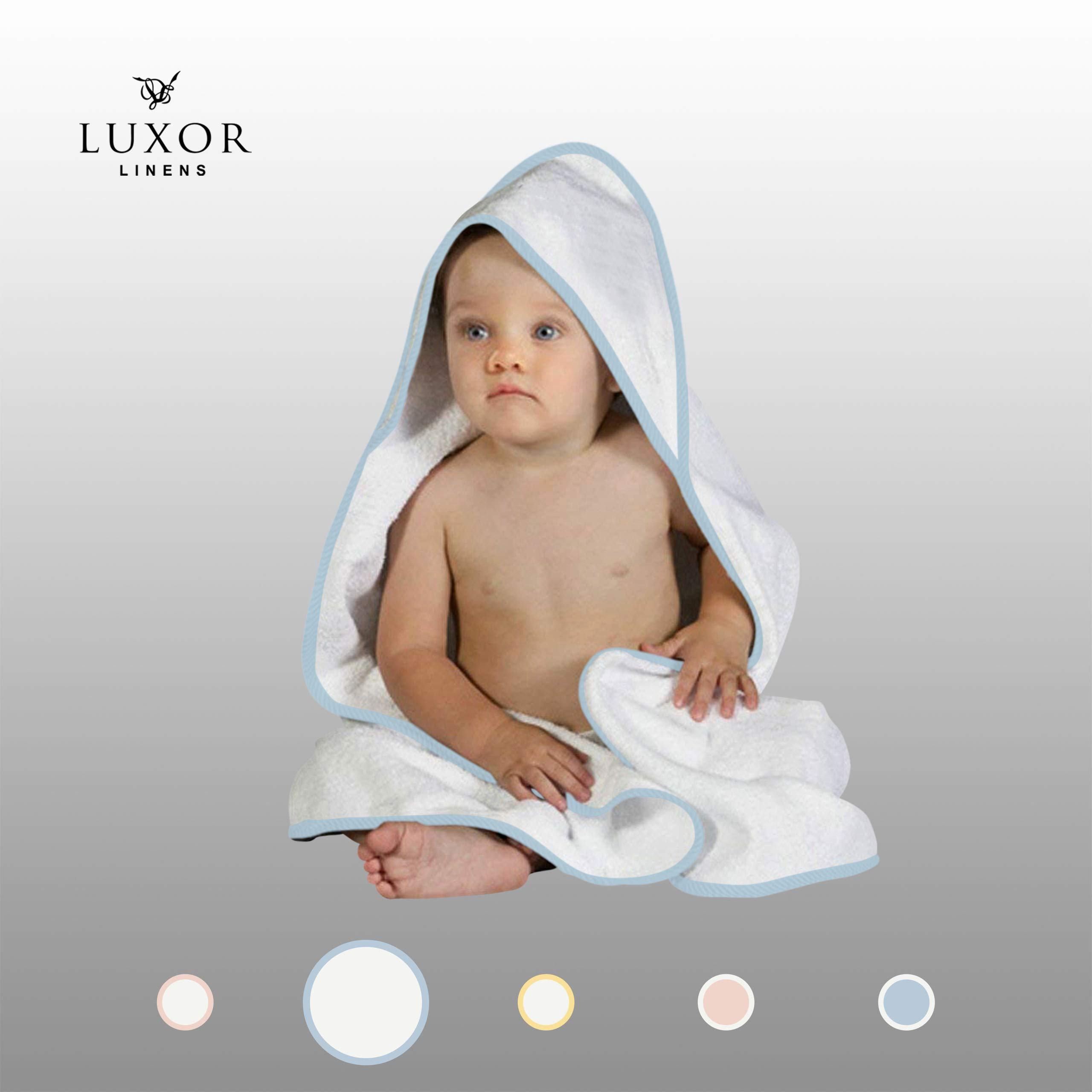 Luxor Linens 100% Super Absorbent Cotton Baby Hooded Terry Towel (White-Light Blue) Vienna Collection