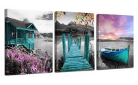 """Ardemy Canvas Wall Art Landscape Lake Painting Cabin Teal Purple Sail Boat Pictures Framed Modern Cottage Artwork for Living Room Bedroom Bathroom Kitchen Wall Decor, 12""""x16""""x3 Panels"""