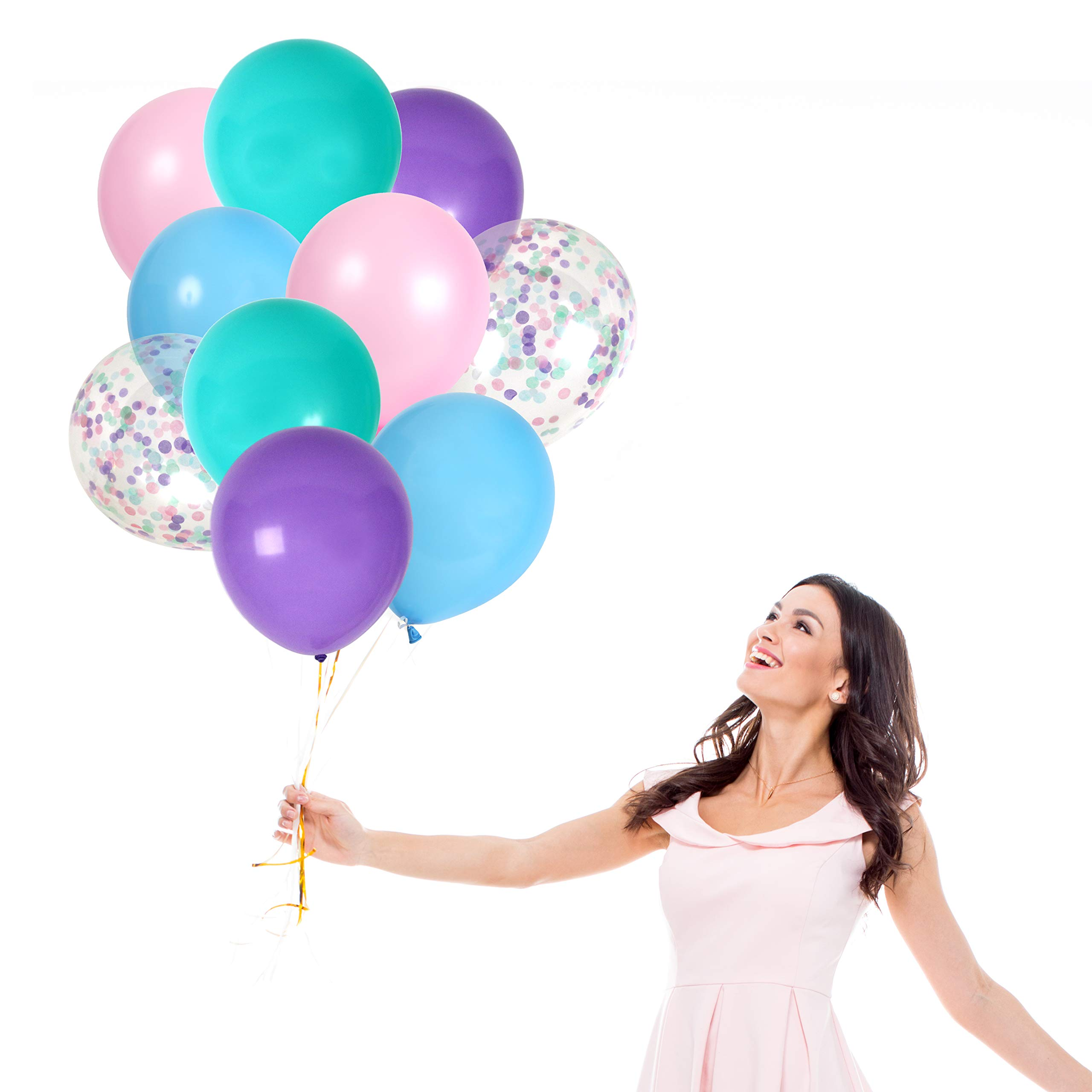 Frozen Balloons Party Decoration in Purple Pink Balloons Aqua Blue Latex Balloons Confetti Balloons for Birthday Baby Shower Supplies (42 Pack)