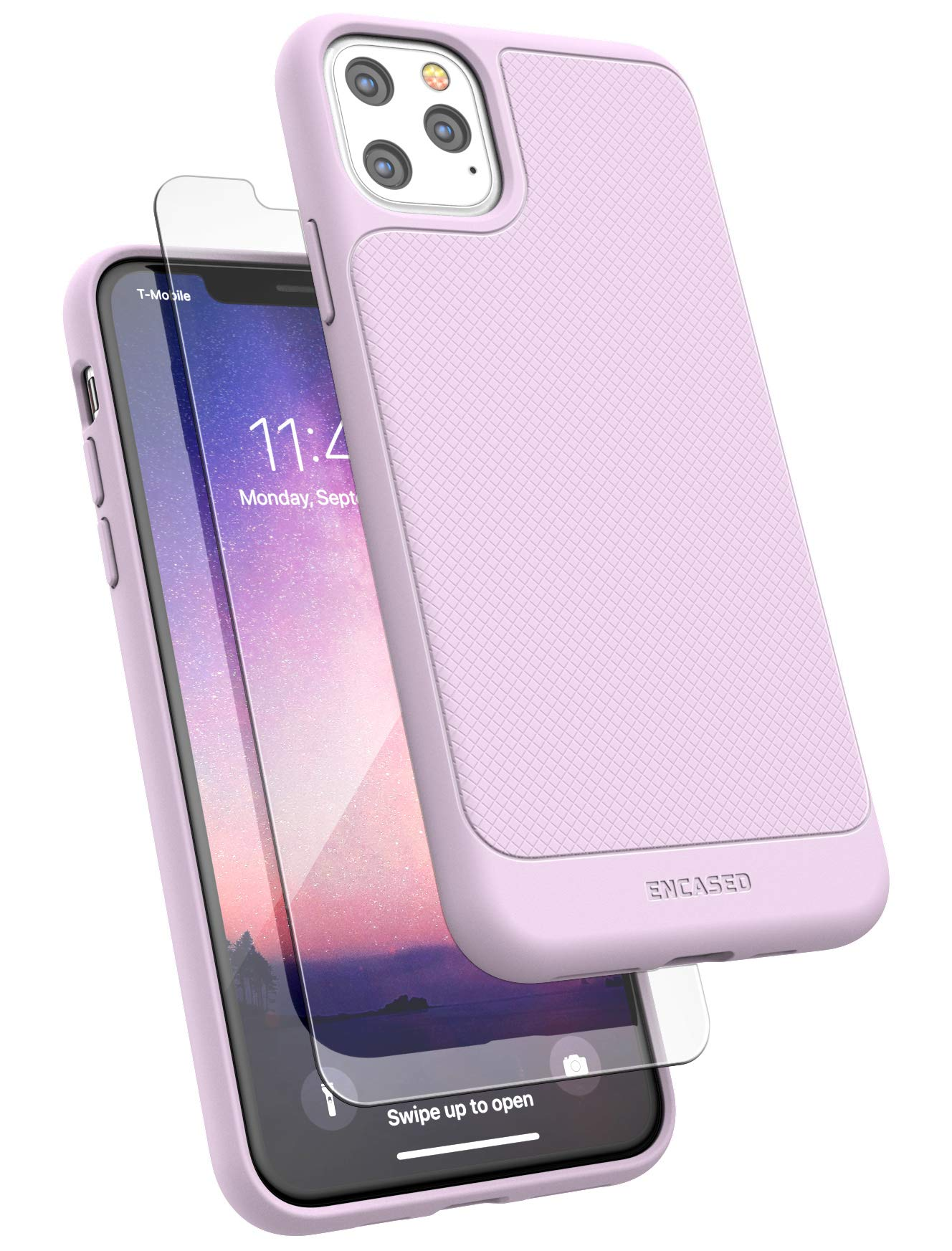 Encased iPhone 11 Pro Max Case Purple (Thin Armor) Slim Flexible Grip Phone Cover with Screen Protector (Lilac Purple)