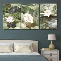 """wall26 - 3 Panel Canvas Wall Art - Watercolor Style Lotus Flowers and Leaves - Giclee Print Gallery Wrap Modern Home Decor Ready to Hang - 16""""x24"""" x 3 Panels"""