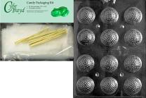 Cybrtrayd Mdk25G-S051 Golf Balls 3D Sports Chocolate Candy Mold, Includes 25 Cello Bags and 25 Gold Twist Ties
