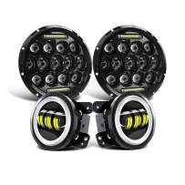 """DOT Approved Led Headlight for Jeep Wrangler 7"""" Round 75W LED Replacement Headlights with High Low Beam White DRL 4"""" Fog Lamp for 1997-2018 Jeep Wrangler JK JKU TJ LJ Sahara Rubicon Unlimited"""