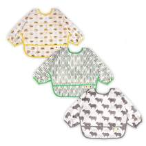 3 Pcs Long Sleeved Bib Set | Baby Waterproof Bibs with Pocket Bundle | Toddler Bib with Sleeves and Crumb Catcher | Stain and Odor Resistance Play Smock Apron - Pack of 3 | 6-24 Months